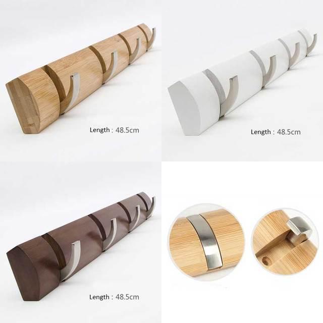 Base com 4 pcs gancho de metal cabide de bambu, suporte de montagem na parede, bag & gancho chave, três cores para sua escolha