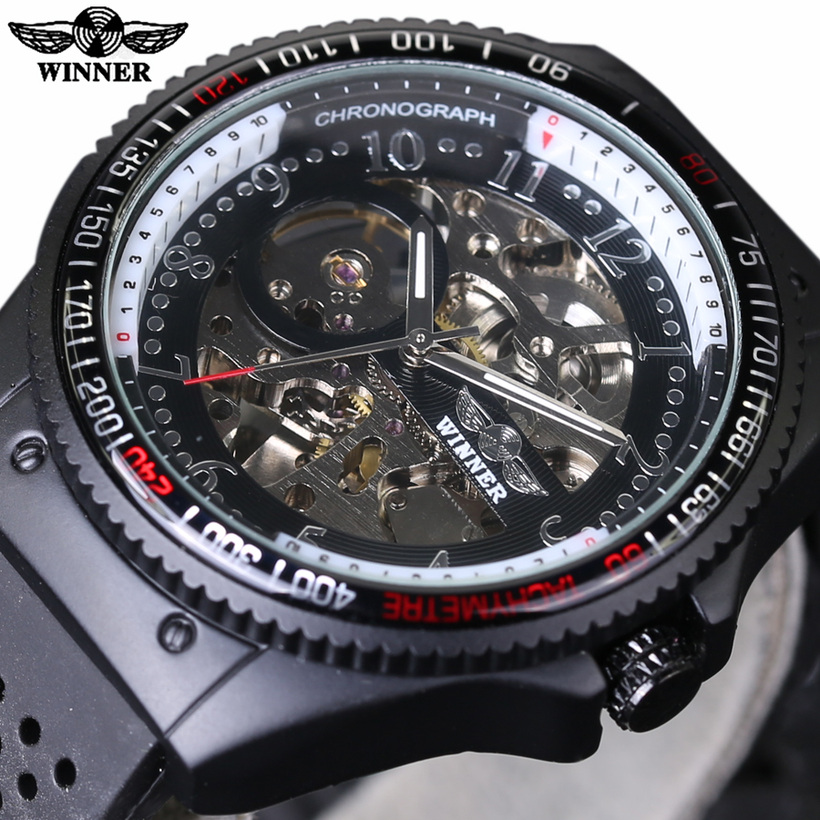 2016 New Fashion Skeleton Wrist Watches Automatic Winding Mechanical Movement Watch for Men Rubber Strap Sports Wristwatch hanriver 2018 medical wrist wrist fracture rehabilitation movement sprain support fixed splint for both men and women