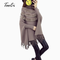 New Fashion Autumn Women High Collar Real Rabbit Fur Cloak Pullover Lady Bat Sleeves Tassel Poncho Sweater Coat