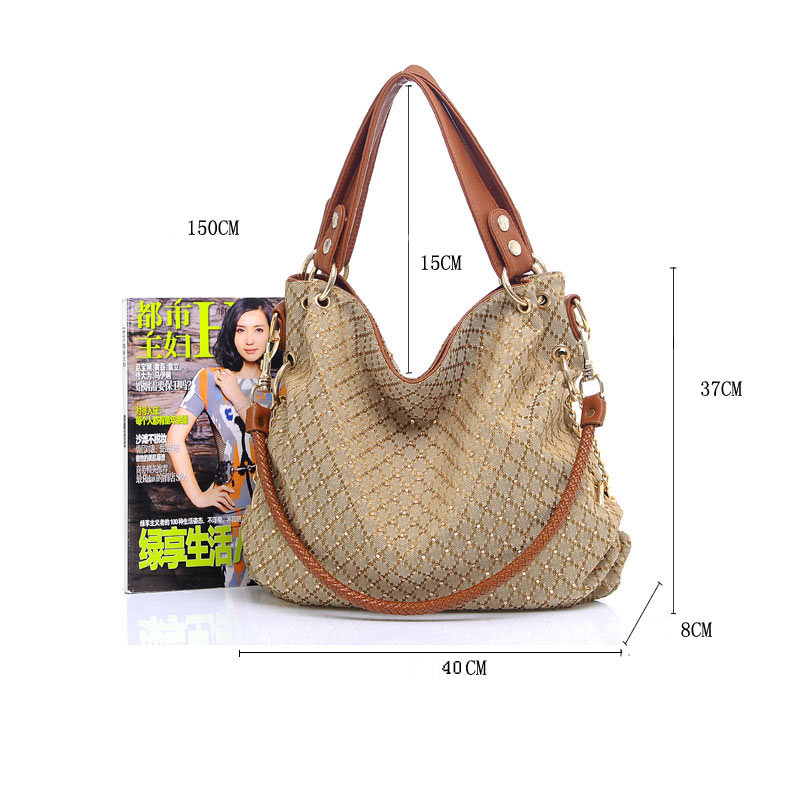 New 2015 fashion handbags women messenger bags vintage ladies chain shoulder bag denim diamonds cross body bag plaid casual tote