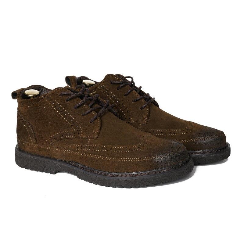 Até Black Dos Ankle brown Botas Trabalho Rendas Sapatos Toe Preto Boots Couro Cinza Homens Tamanho Rodada Marrom Nobuck 44 Cáqui khaki Inverno De Confortável Outono gray Mens HqgZE6