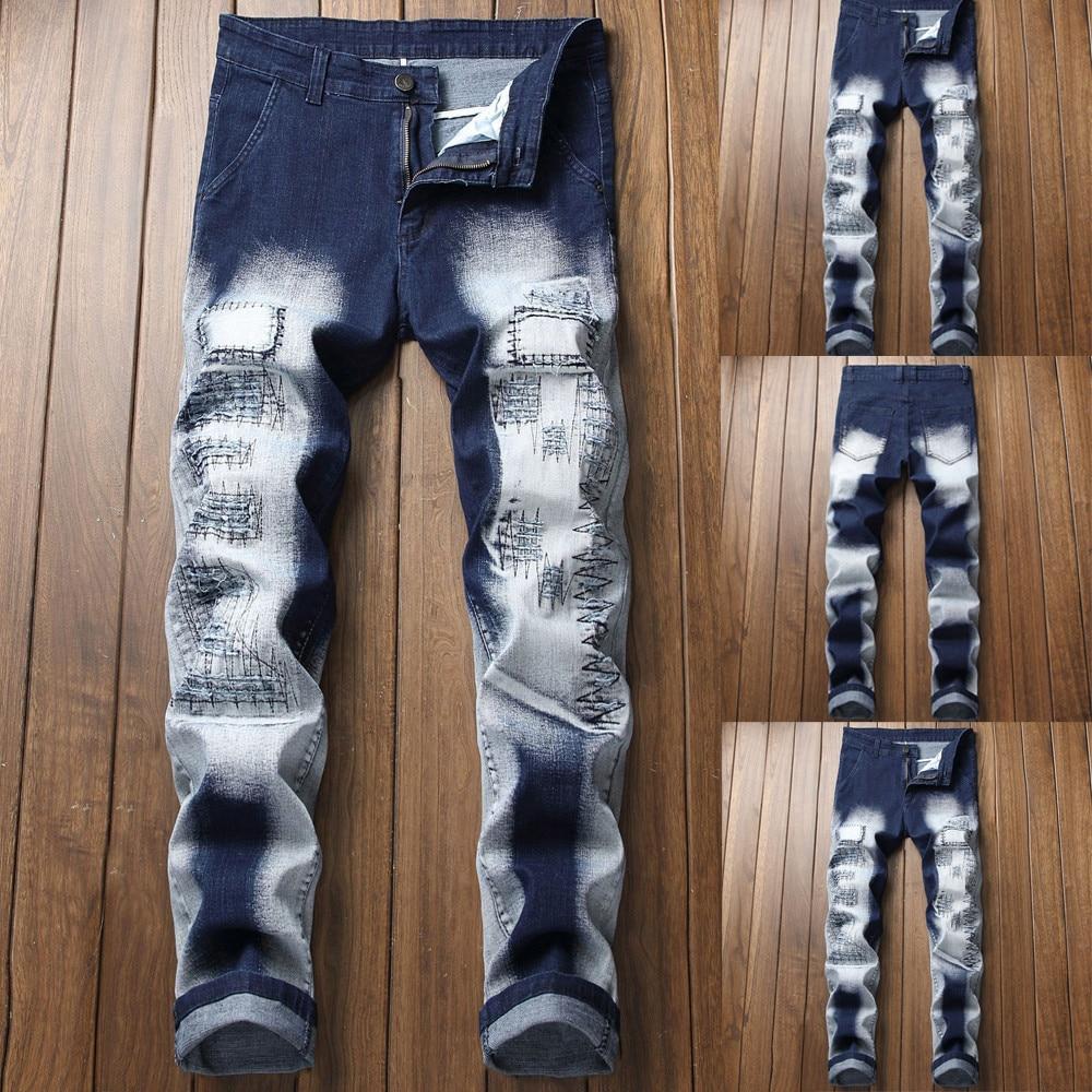 100% QualitäT 2018 Männer Neue Mode Patches Machen Alte Jeans Trend Zipper Männlichen Casual Hip Hop Lange Hosen Hosen Angenehme SüßE