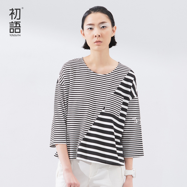 Toyouth 2017 Spring Summer New Arrival Spliced Stripe Loose O-Neck Three Quarter Casual Women Cotton Fashion T-Shirts