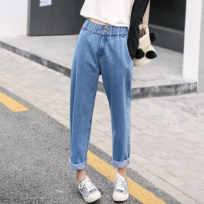 Casual fashion Women's loose jeans high waist elastic waist straight denim ankle-length pants slim ladies plus size trousers high waist jeans women plus size femme stretch slim loose large size jeans pants 2017 casual ankle length haren pants trousers
