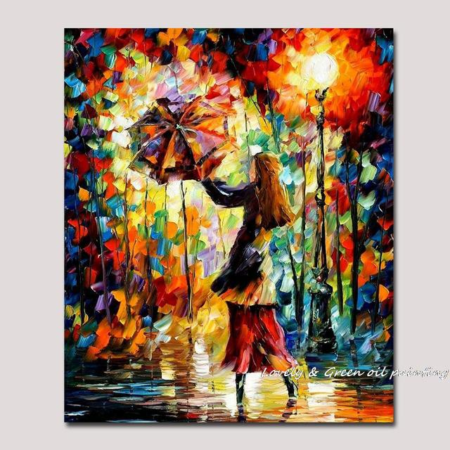 Handmade Rain Girl Colorful Palette Knife Figure Oil Painting On Canvas  Modern Abstract Art Home Office
