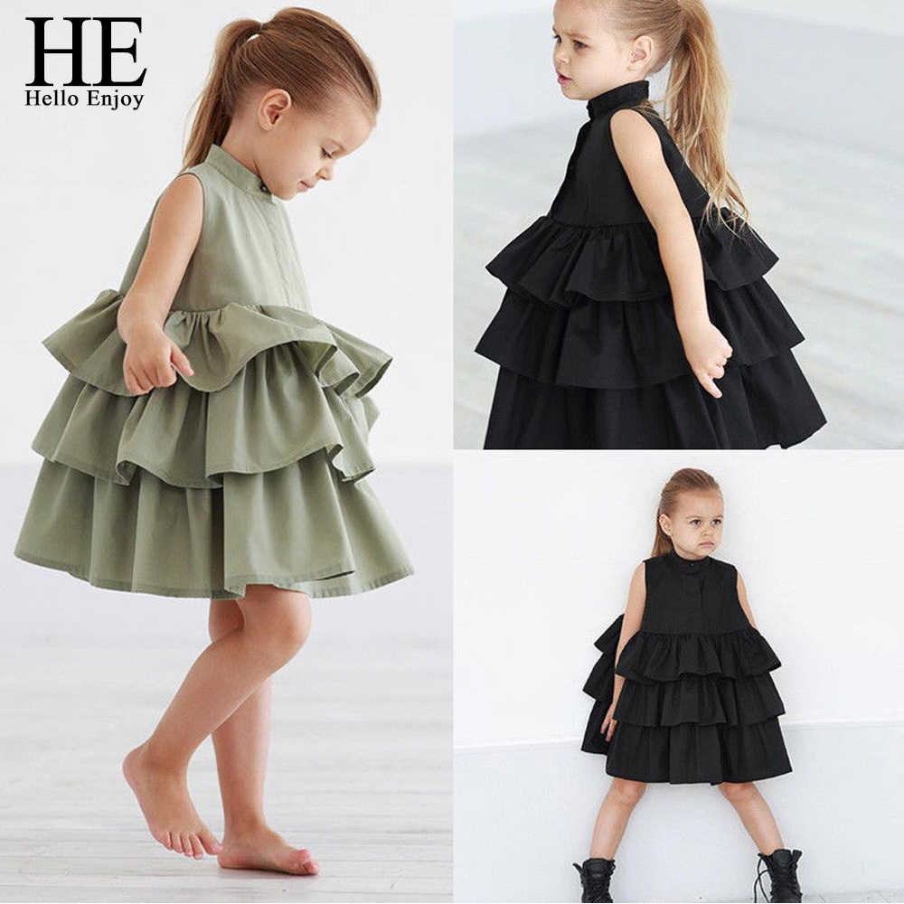 HE Hello Enjoy Newborn Kids Clothes Baby Girls Party Dresses Sleeveless Cake Ruffled Tutu Bubble Dresses Summer  Children Girl