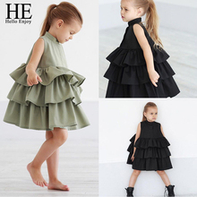 HE Hello Enjoy Newborn Kids Clothes Baby Girls Party Dresses Sleeveless Cake Ruffled Tutu Bubble Summer  Children Girl