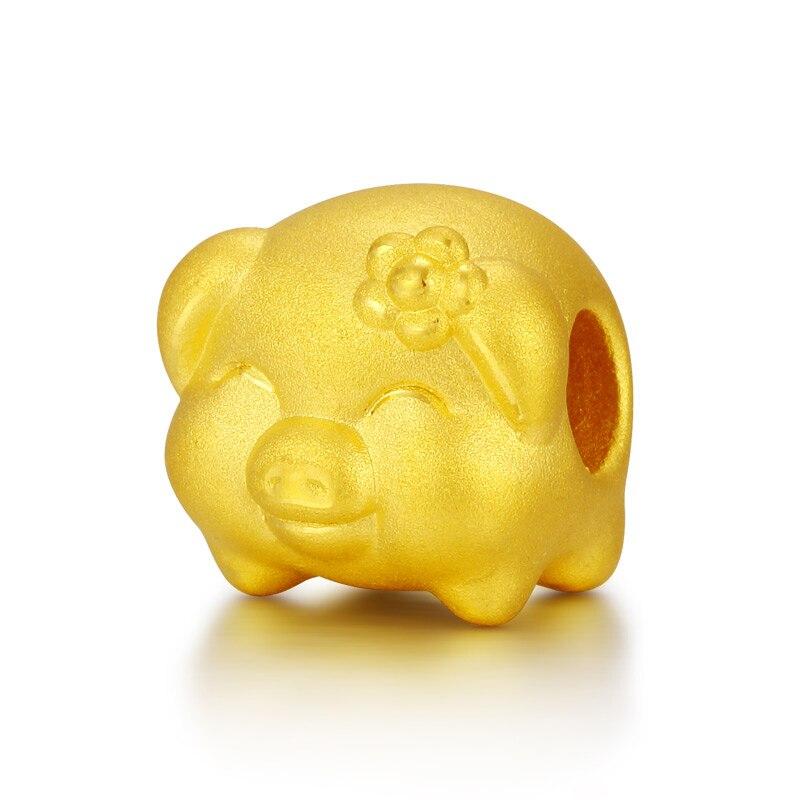 Чистый 24 К желтое золото кулон Для женщин 3D 999 золотой цветок свинья кулон 1,1 г