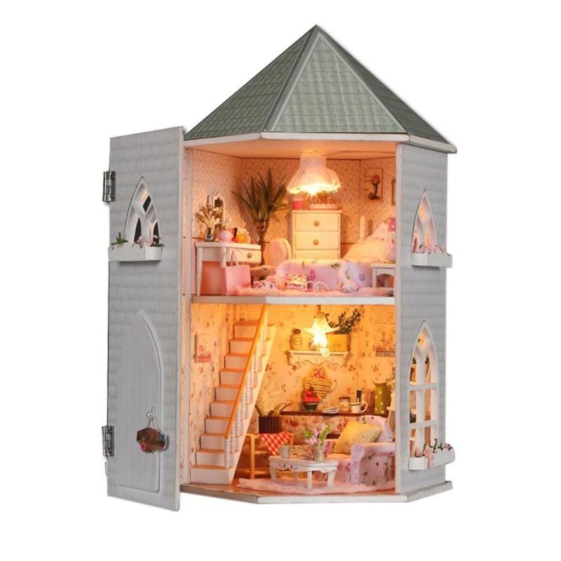 FAI DA TE In Legno Case di Bambola In Miniatura di Assemblaggio A Mano Mobili Scatola del Kit Di Puzzle Assemblare Dolce Parola Casa Delle Bambole Giocattoli Regalo Di Natale