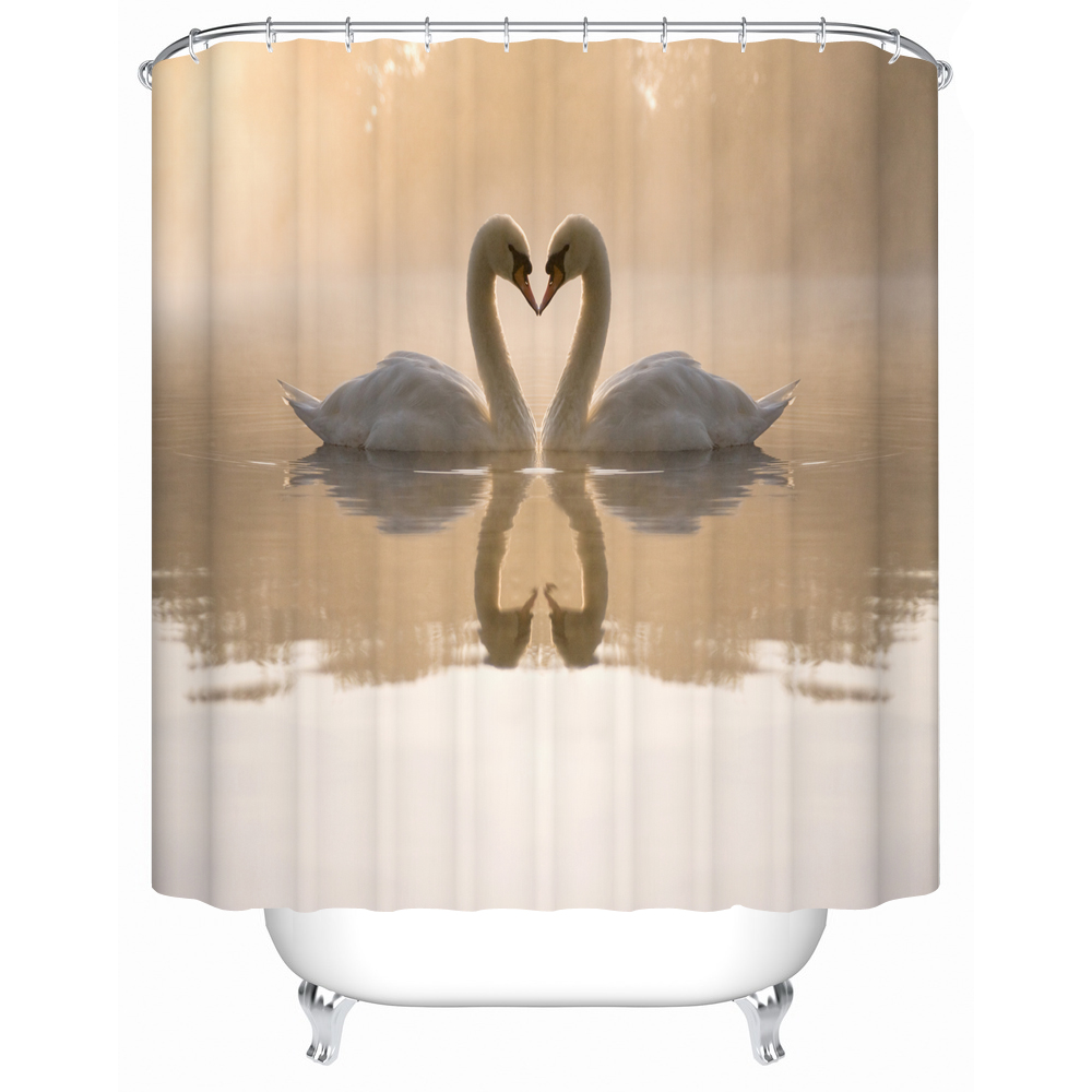 Curtains In Bathroom: Shower Curtains Bathroom Curtain Two Beautiful Swan In The