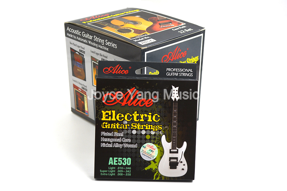 12 Sets Alice AE530-L/SL/XL Electric Guitar Strings Plated Steel Hexagonal Core Nickel Alloy Wound Gold-Plated Ball-End Strings