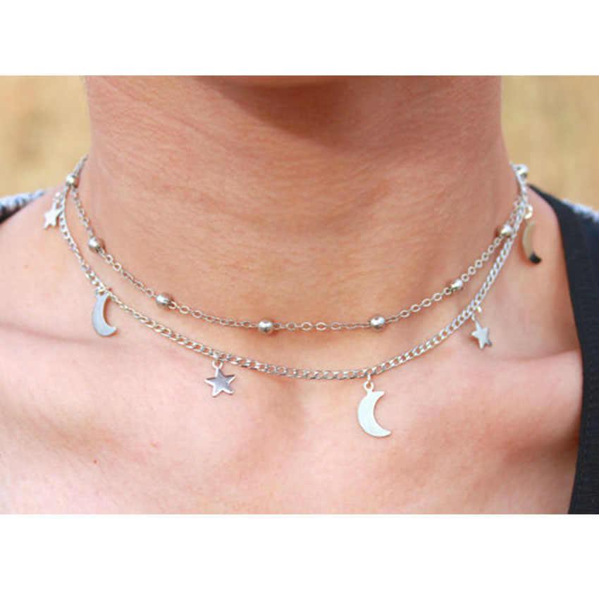 Phụ nữ Double Layer Xương Đòn Vòng Cổ Vàng Bạc Sao Màu Mặt Trăng Mặt Dây Chuyền Bohemia Chokers Đối Với Lady Statement Jewelry