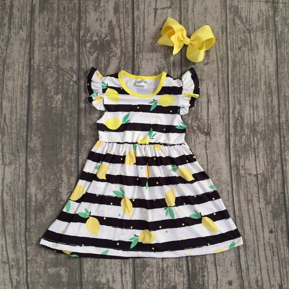 2018 Summer dress baby kids wear girls clothing black stripes lemon dress sleeves boutique dress with matching bow