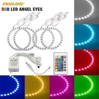 FEELDO 4Pcs/Set Car RGB LED Angel Eyes Halo Ring Lighting Kit Remote Control For VW Magotan DRL Headlight #AM5266