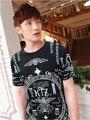 2013 женщины мужчины ктж широкий завышение тройник короткий рукав рубашки черный bigbang GD