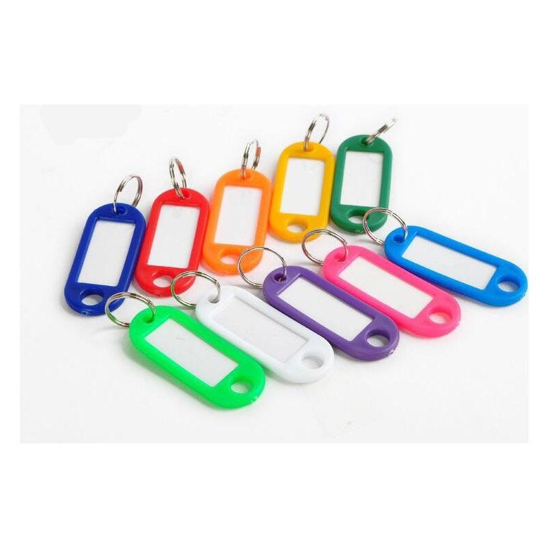 100 Pcs Random Color Key ID Label Tags Split Ring Keyring Plastic Keychain Blanks Key For Baggage Paper Insert Luggage Bag Tags