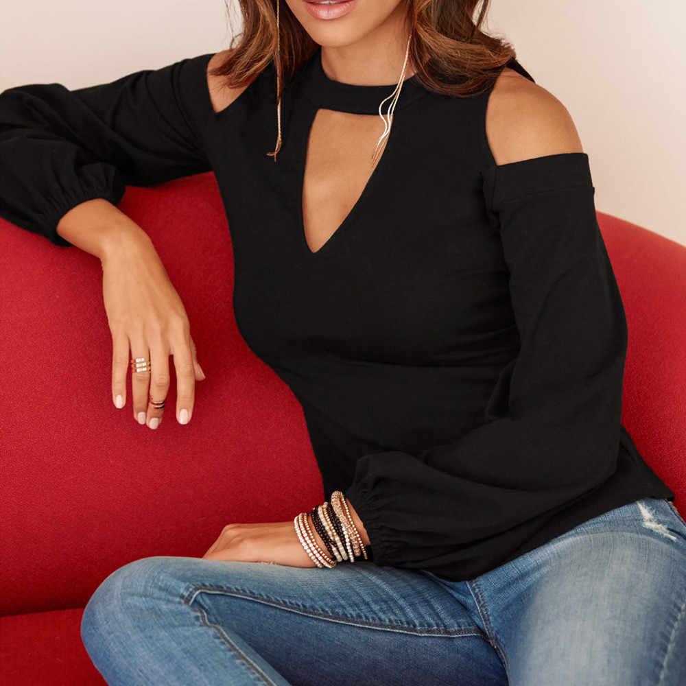 Camiseta negra para mujer, Camiseta ajustada de manga larga, camiseta para el sudor, Jersey, camiseta con hombros descubiertos, camiseta a la moda hueca #38