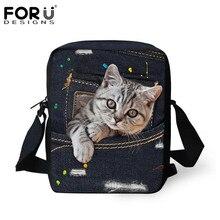 FORUDESIGNS/Симпатичные животные кошка Для женщин Курьерские сумки класса люкс маленькая сумка через плечо для дам 3D джинсовый комбинезон с карманами; сумка Feminina