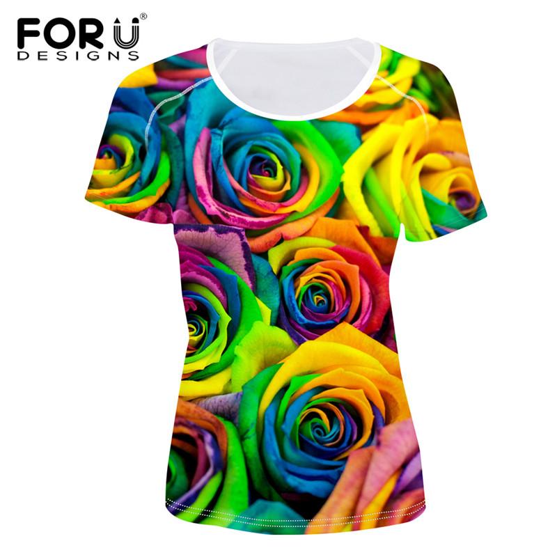 ae3678f07e09 FORUDESIGNS Fashion Women T Shirt 3D Floral Rose Printed Short ...