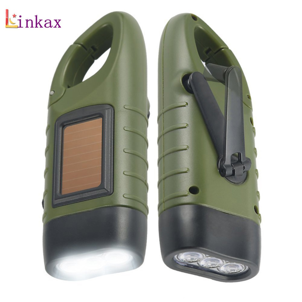 Solar Mini Emergency Hand Crank Dynamo Solar Flashlight Rechargeable LED Light Lamp Charging Powerful Torch For Outdoor Camping led dynamo flashlight torch outdoor portable light hand press crank camping