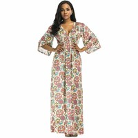 Vintage V Neck Loose Long Office Dress Sexy Women Casual Flower Printed Maxi Dress Robe Half