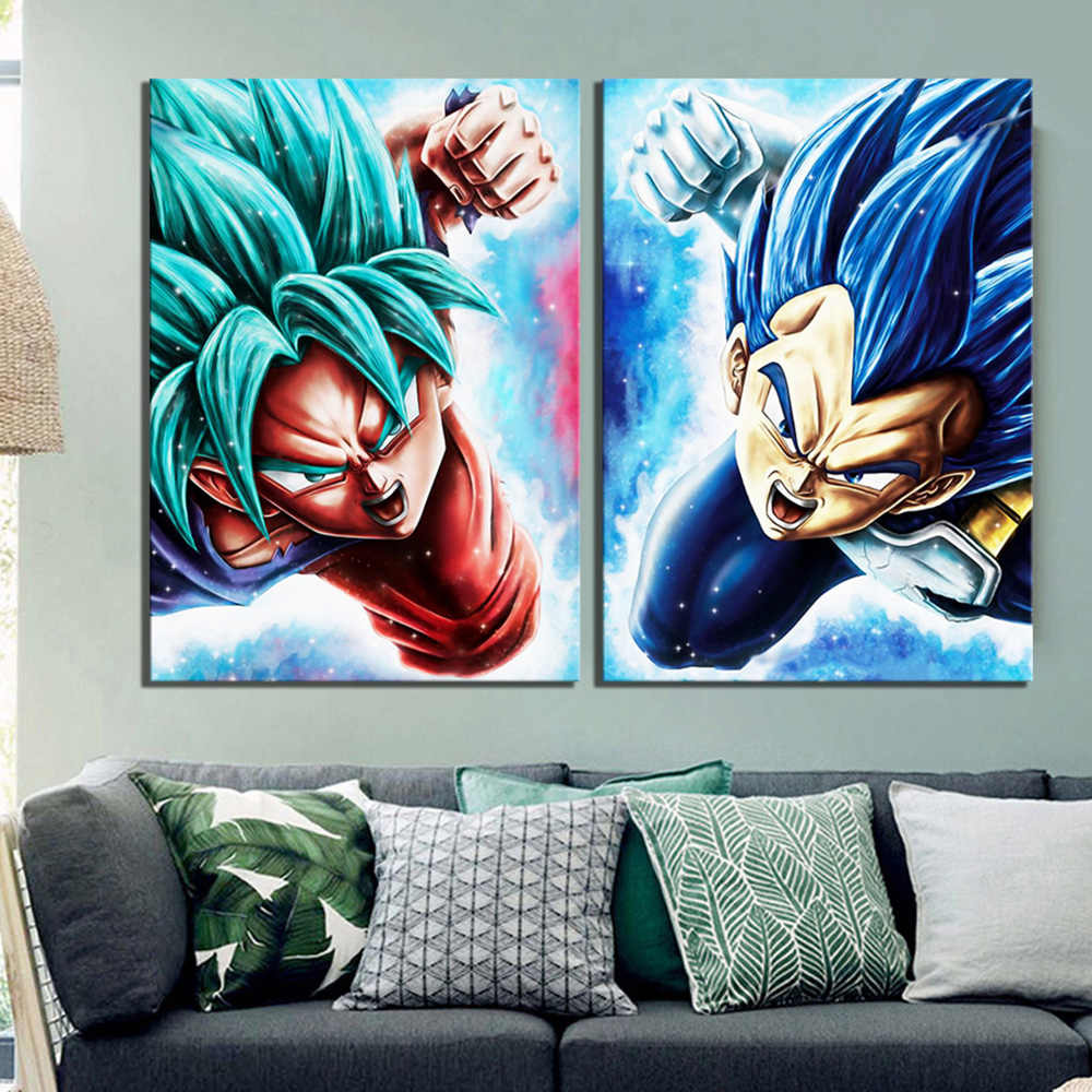 Wall Art Canvas Pictures Paintings 2 Pcs Vegeta Goku Anime Dragon Ball Super Cartoon Modular Posters Modern HD Printed Home Deco