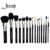 Jessup pro 15 pcs makeup brushes set pó foundation eyeshadow corretivo delineador lip brush tool preto/prata