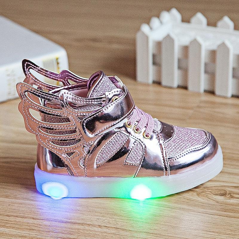Kids Light Up Gold Shoes