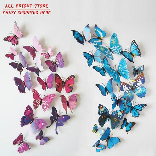 New PcsLot Vinyl D Blue Butterflies For Wall Art Decal - Butterfly wall decals 3daliexpresscombuy d butterfly wall decor wall sticker