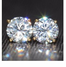 Genuine18K 750 Yellow Gold Push Back 2 Carat ct F Color Test Positive Lab Grown Moissanite Diamond 4 Prongs Earrings For Women