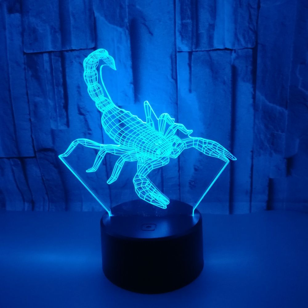Scorpion 3D 7 Color Lamp Visual Led Night Lights For Kids Touch Usb Table Lampara Lampe