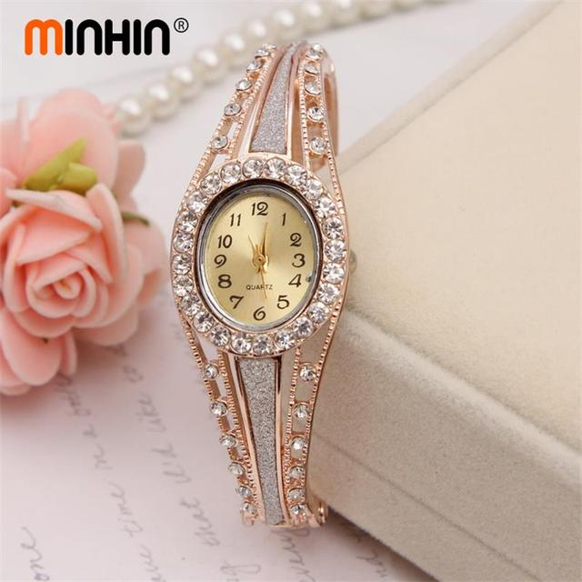 MINHIN Watch Royal Gold Plated Bracelets Oval Dial Wristwatch Stainless Steel Quartz Cuff Bangle Watch Femme Watches Jewelry