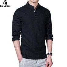 Loldeal 2018 Asian Fashion Long Sleeve Mandarin Collar Mens Shirts Male Casual Linen Shirt Men Plus Size 4XL 5XL White