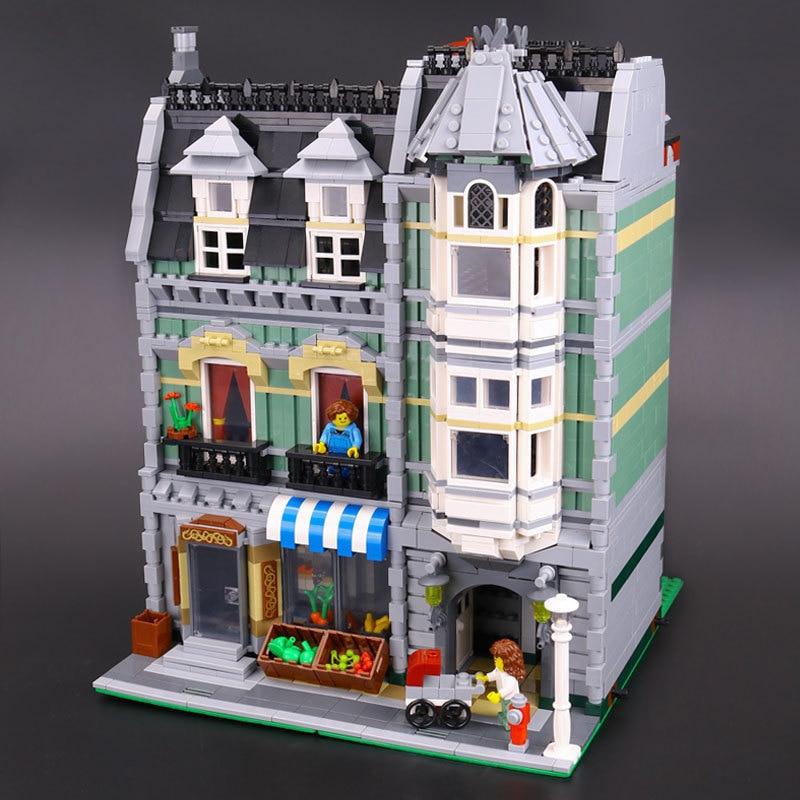 DHL Lepin 15008 2462Pcs City Street Green Grocer Model Building Kits Blocks Bricks Compatible Educational toys 10185 цена