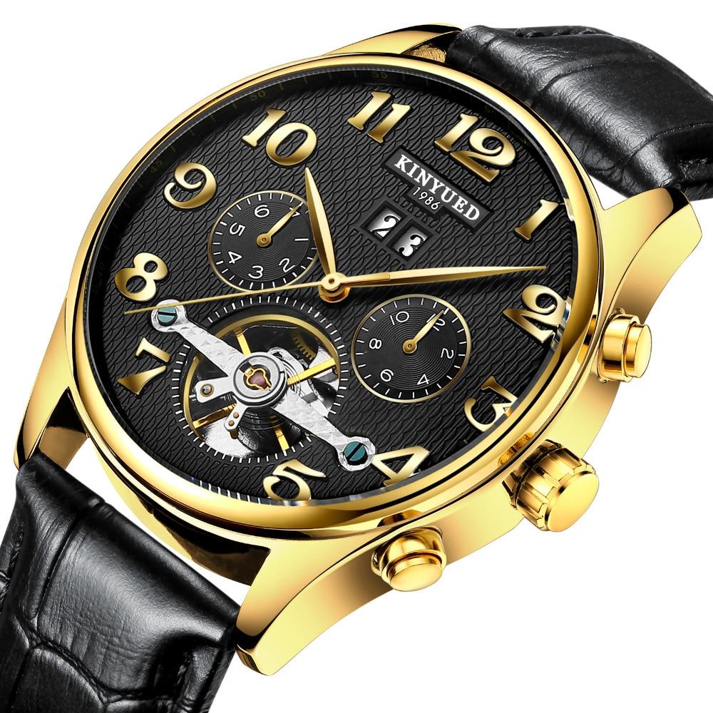 ФОТО KINYUED Mechanical Watch Men Skeleton Watch Wrist Tourbillon Watches Men Top Brand Watch Men Leather Straps Men Automatic Clock