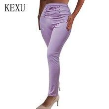 KEXU High Waist Pants Women Cross Bandage Bodycon Slim Summer Casual Streetwear Punk Black Capris Trousers