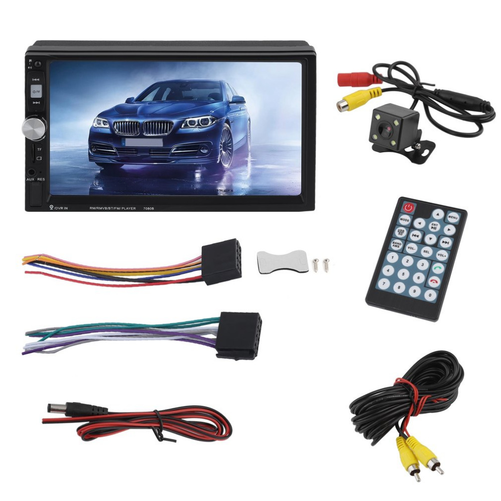 New 7 Inch Multimedia HD Bluetooth Touch Screen LCD Monitor Double Din Car Stereo Radio MP5 MP3 FM Player Rear View Camera touch screen bluetooth car stereo fm mp3 mp5 radio player of 7 inch lcd hd double din in dash rear view camera