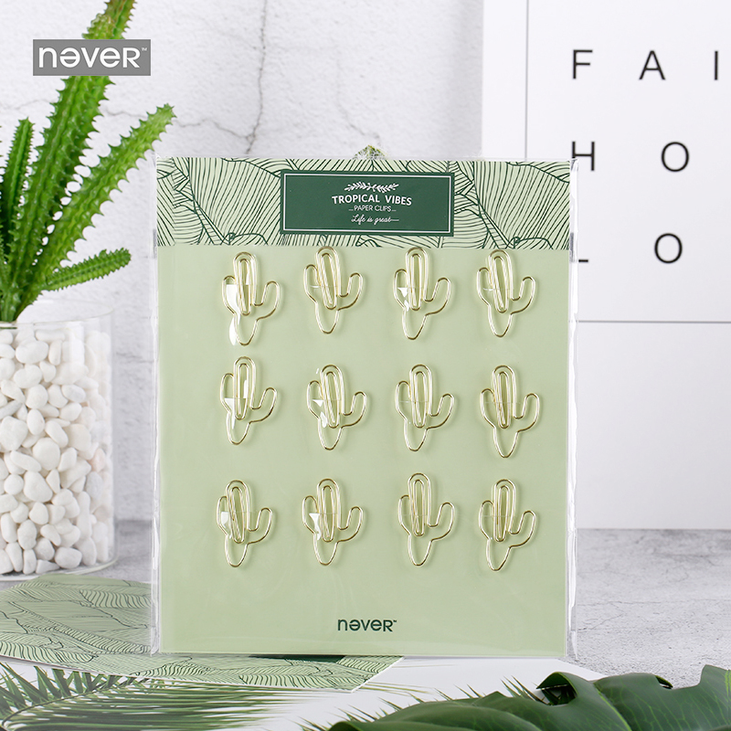 NEVER Plant Cactus Flamingo Shape Gold Metal Paper Clips For Photo Message Cute Bookmark Planner Office Accessories Stationery