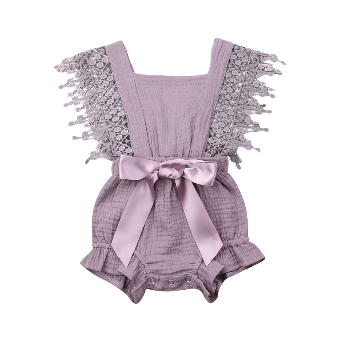 0 6M Newborn Toddler Girls Tassel Sleeveless Lace Ruffle Bodysuit Hollow Solid Color Backless Bodysuit with Bow Summer Clothes in Bodysuits from Mother Kids