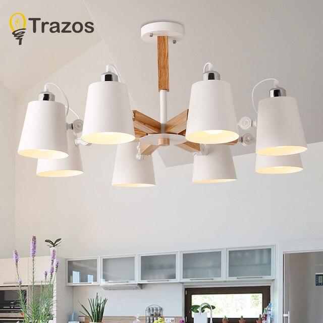 Moda colorido de madera moderna luces de techo lámparas de diseño  minimalista sombra luminaria comedor luces lámpara de techo