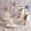Wedopus Top Sale High Quality Satin Ivory Big Rose Flower Wedding Shoes Low Heel