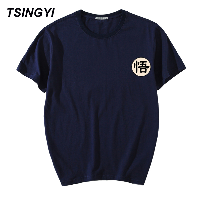 Tsingyi Summer Letter Wukong <font><b>Dragon</b></font> <font><b>Ball</b></font> <font><b>T</b></font> <font><b>Shirt</b></font> Men 100% Cotton O-Neck Short Sleeve Loose Hip Hop Tee <font><b>Shirt</b></font> Homme Plus Size <font><b>5XL</b></font> image