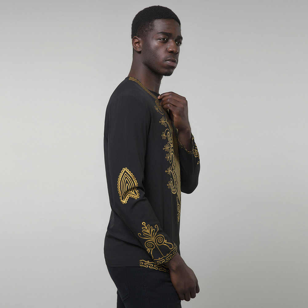 Лидер продаж, Мужская футболка с этническим принтом в африканском стиле, с круглым вырезом, с длинными рукавами, мужские рубашки, цвет черный, белый, camisa africana hombre