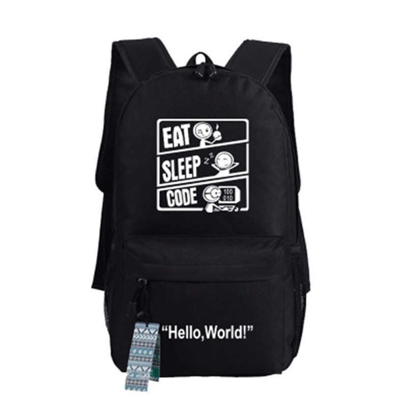 Github Hello World IT you are offline Backpacks Unisex Canvas Student Book  Shoulder Bags Xmas Gift