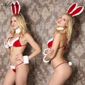 2017 hot sale sexy lingerie women hot christmas red hollow out erotic lingerie Backless dew butt Bunny girl sexy costumes