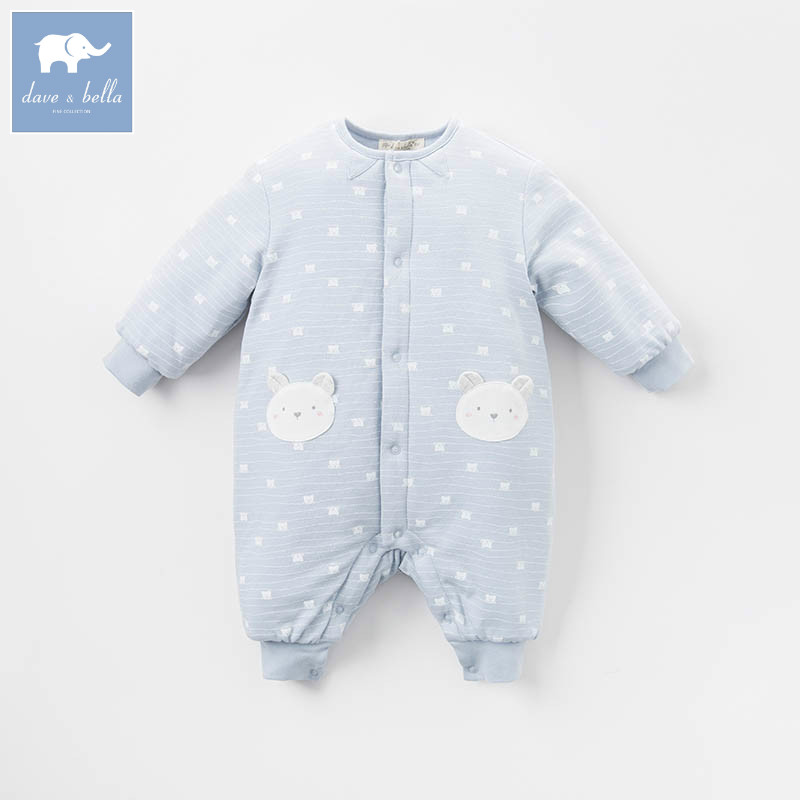 DB6537 dave bella autumn winter new born baby boys fashion romper infant clothes boys cute romper baby 1 piece db5033 dave bella summer new born baby unisex rompers cotton infant romper kids lovely 1 pc children romper