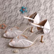 Wedopus Ivory White Кружева Сандалии для Женщин Свадьба Свадебная Обувь Среднего Каблуках Падение Корабля
