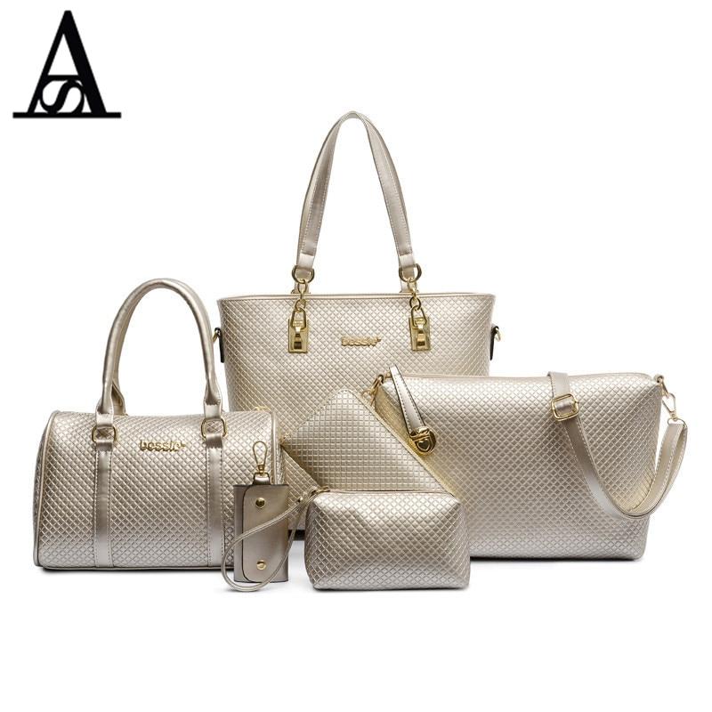 Aiteses Fashion PU Leather Lady Purses Famous Brand Tote Bag Luxury High Quality Designer Printing Handbag For Women 4 piece Set