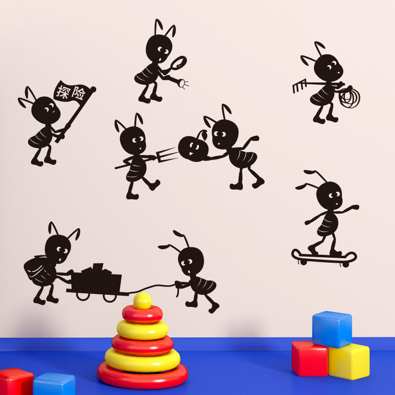BalleenShiny Ants Move House Funny Wall Stickers Adhesive Vinyl Wall Decals Home Decoration Cartoon Kids Room Window Stickers
