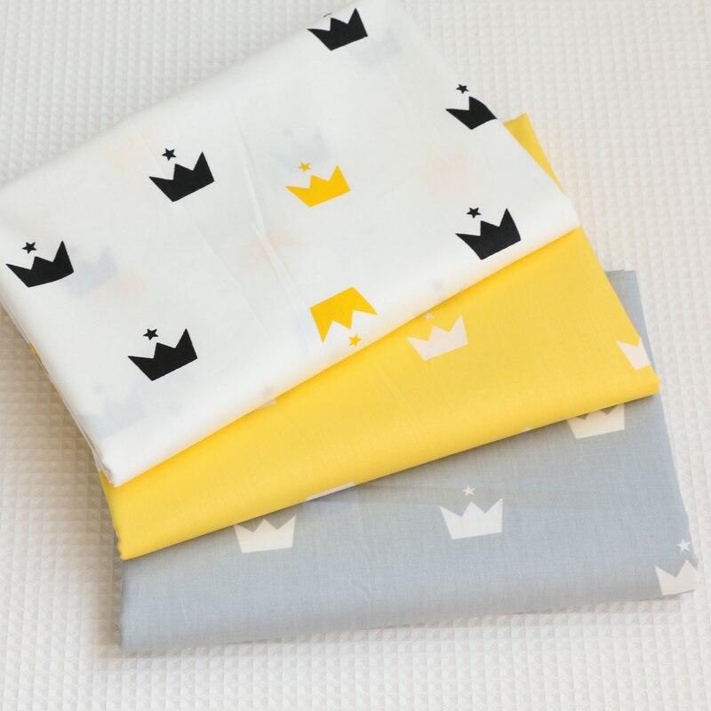 Хлопковая Лоскутная Ткань с принтом в виде короны, материал для шитья и стёганых изделий для детей и малышей четверть